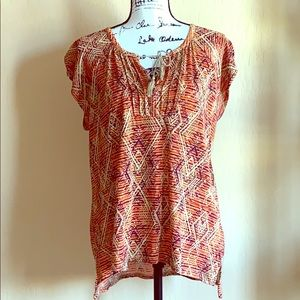 Lucky Brand Popover Top Size L Women's